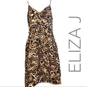 Eliza J Animal Print Layered Ruffle Dress